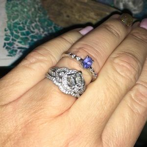 White gold Tanzanite and genuine diamond ring
